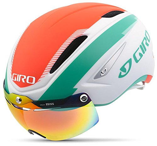 Giro Air Attack Shield Helmet-White/Turquoise / Vermillion-Large (Attack Cycling Gloves)