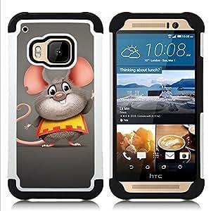 GIFT CHOICE / Defensor Cubierta de protección completa Flexible TPU Silicona + Duro PC Estuche protector Cáscara Funda Caso / Combo Case for HTC ONE M9 // Happy Fat Mouse //