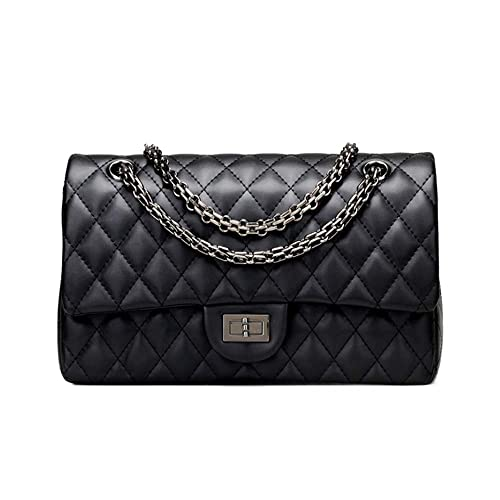 9f795b183fd7d3 Sheli Branded Classic Medium Black Quilted Plaid Soft Lambskin Leather  Shoulder Crossbody Handbag for Woman