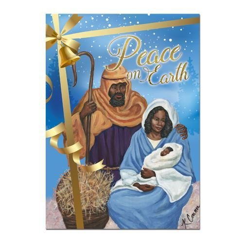 "Search : African American Expressions - Peace on Earth/ Nativity with Mary, Joseph, and Jesus Boxed Christmas Cards (15 cards, 5"" x 7"") C-936"