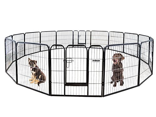 PetDanze Dog Pen Metal Fence Gate Portable Outdoor | Heavy Duty Outside Pet Large Playpen Exercise RV Play Yard | Indoor Puppy Kennel Cage Crate Enclosures | 32