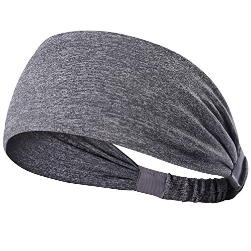 Yoga Headbands for Women - Wide Non Slip for Running Workout and Fitness Gray