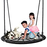 SUPER DEAL Largest 48' Web Tree Swing Set - Extra Large Platform - 360 Rotate°- Adjustable Hanging Ropes - Attaches to Trees or Existing Swing Sets - for Multiple Kids or Adult