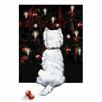 Christmas Lights' Westie 10 pack of small square Xmas cards ...