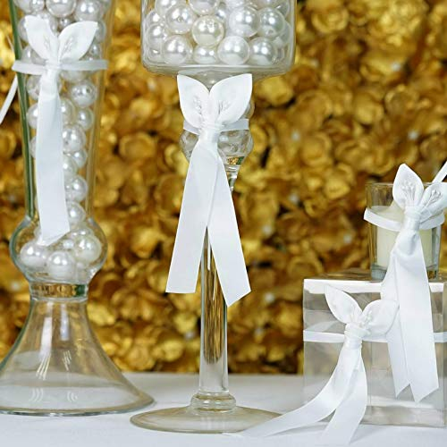 (Mikash White Mini Bows with Double Calla Lily for Wedding Favors Candles Decoration | Model WDDNGDCRTN - 7107 | 40 pcs)