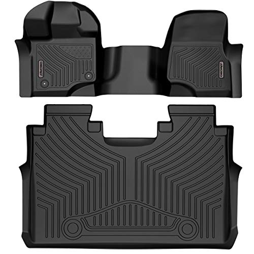 oEdRo Floor Mats Compatible for 2015-2020 Ford F-150 SuperCrew Cab with 1st Row Bench Seats, Unique Black TPE All-Weather Guard Includes 1st and 2nd Row: Front, Rear, Full Set Liners