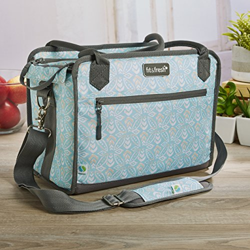 Fit & Fresh Day Trip Insulated Soft Cooler Bag with Leakproof Foil Liner, Multi-Layer Insulation and Radiant Heat Barrier, 12-Can Capacity