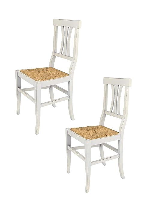 Tommychairs - Set 2 sedie Arte Povera per Cucina e Sala da Pranzo dallo  Stile Shabby Chic, Robusta Struttura in Legno di faggio, Anticata ...