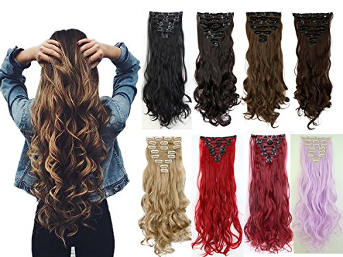 """8PCS 24"""" Long Wavy Curly Dark Black Full Head Clip in Hair Extensions 18Clips Women Lady Hairpiece"""