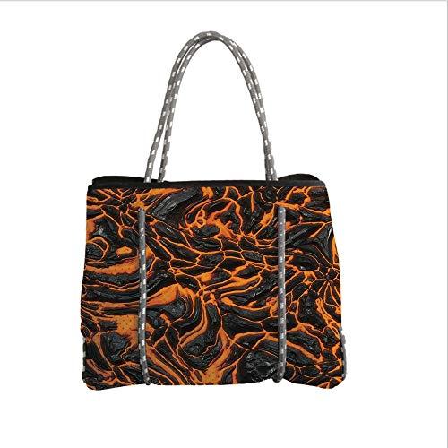 iPrint Neoprene Multipurpose Beach Bag Tote Bags,Volcano,Vibrant Lava Flow Texture Image Combustion Dangerous Molten Magma Decorative,Orange Charcoal Grey,Women Casual Handbag Tote Bags ()