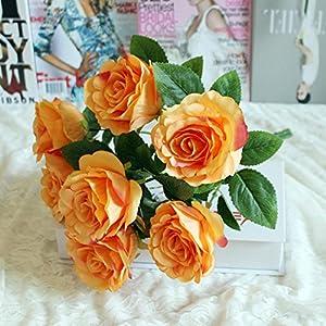 Transer 21 Heads Artificial Rose Silk Fake Flower Leaf Home Decor Bridal Bouquet 33