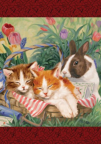 Toland Home Garden  Too Cuddly 28 x 40-Inch Decorative USA-Produced House (Bunny Decorative Flag)