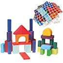 Grimm's Colored Rainbow Geo-Blocks - Classic Wooden Building Blocks Set with Net Bag, 30 Pieces