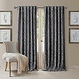 Elrene Darla Lattice Ironwork Design Blackout Room Darkening Convertible Rod Pocket or Back Tab Single Window Curtain Panel by, 52 Inch Wide X 84 Inch Long, Dark Gray Review