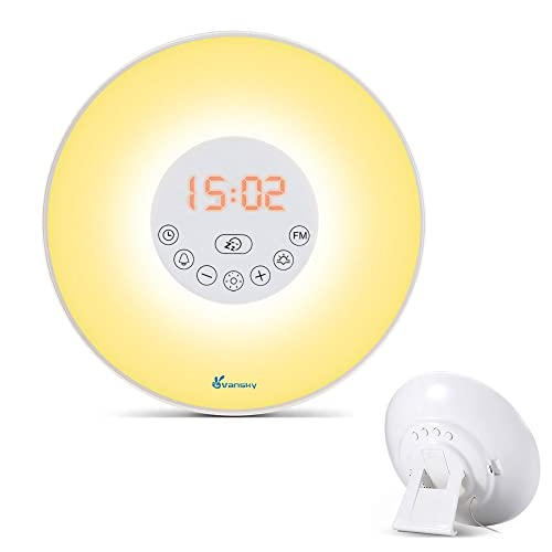 Alarm Clock Wake Up Light, Vansky® Radio Alarm Clock Sunrise Simulation Wake Up Light, Night Light Bedside Clock Radio with Nature Sounds FM Radio, 7 Colours/10 Brightness, Touch Control