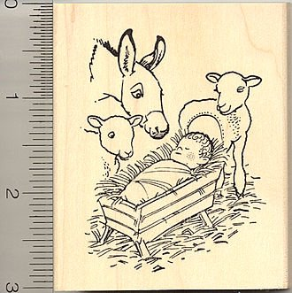 - Christmas Nativity Rubber Stamp - Wood Mounted