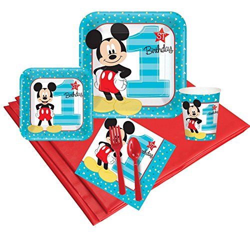 - Disney Mickey Mouse 1st Birthday Party Supplies - Party Pack for 24 Guests