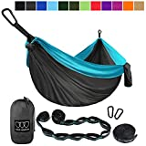 Gold Armour Camping Hammock - Extra Large Double Parachute Hammock (2 Tree Straps 16 Loops,10 ft Included) USA Brand Lightweight Nylon Mens Womens Kids, Camping Accessories Gear (Gray/Sky Blue)