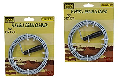 Flexible Drain Cleaning Snake with 9 ft Long Spring Steel Wire (2Pack)