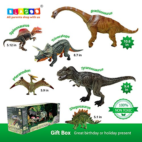 BLAGOO Dinosaur Toys with Moving Parts 6 Figures up to 10.6 inches Super Big Set #2 including Free Augmented Reality 4D Cards - Amazing Dinosaur Plant