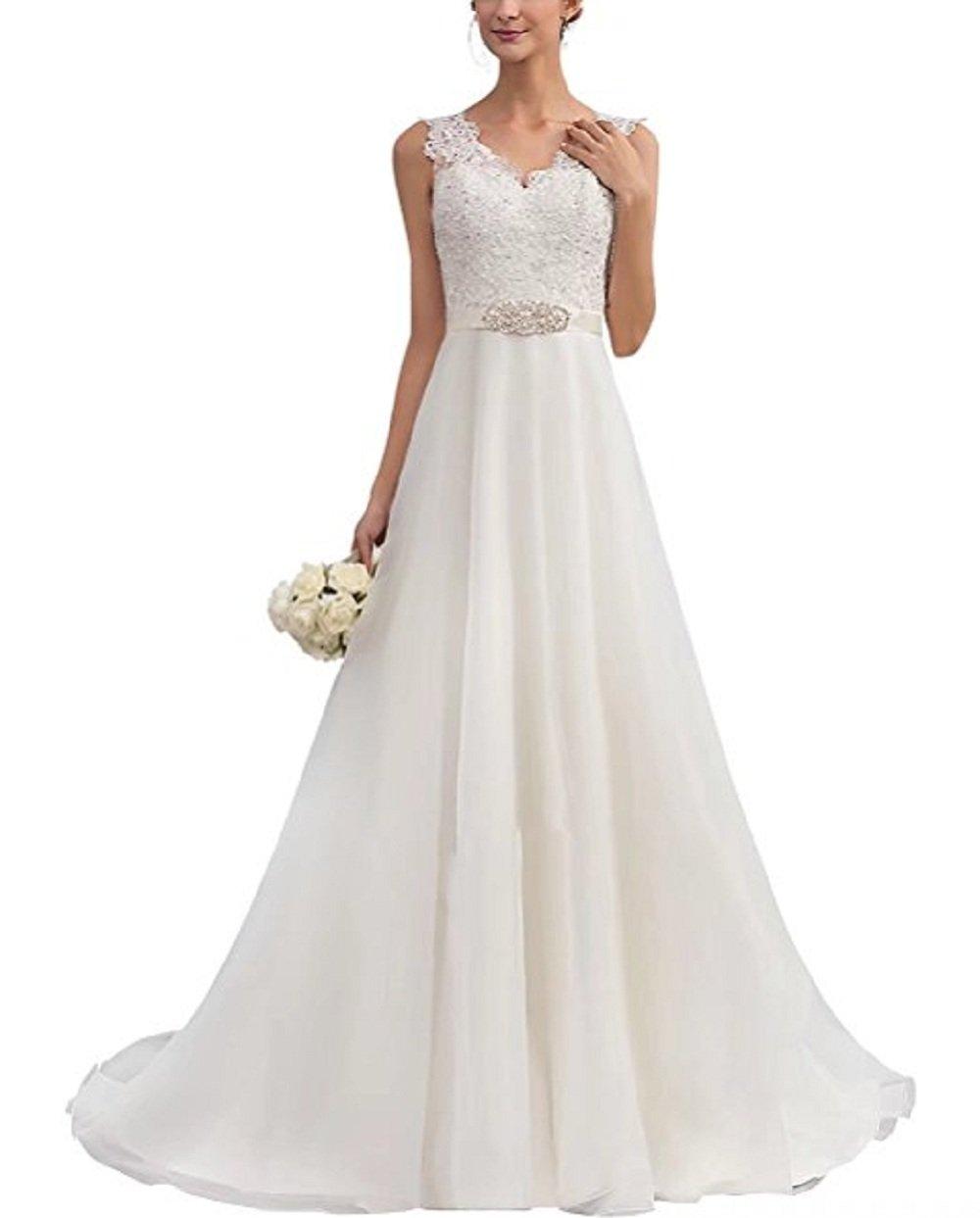 Brautkleider für die Braut A-Linie V-Ausschnitt Organza mit Sicke ...