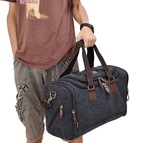Duffel Men Women Canvas Large Travel Tote For Bags Black fB1xPna