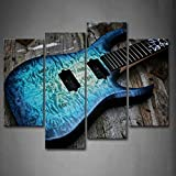 First Wall Art - Guitar In Blue Looks Magical Lies On Wooden Wall Art Painting The Picture Print On Canvas Music Pictures For Home Decor Decoration Gift