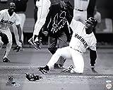 "Ken Griffey Jr. Autographed 16x20 Photo ""HOF 16"" The Slide B&W Seattle Mariners Beckett BAS & Tristar Holo Stock #126565"