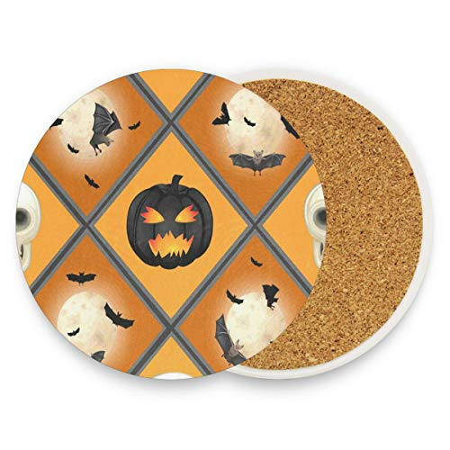 Halloween Coasters, Protection For Granite, Glass, Soapstone, Sandstone, Marble, Stone Table - Perfect Cork Coasters,Round Cup Mat Pad For Home, Kitchen Or Bar 1 Piece