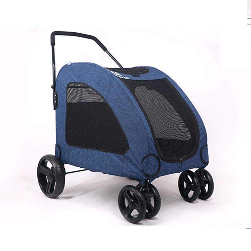 bluee Pet Trolley, Stroller Pet Cart Four-Wheel Foldable Breathable Anti-Slip Handle Suitable for Medium 60kg Or Less,bluee