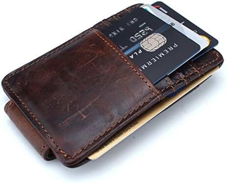 Mcdull Mens Slim Genuine Leather Magnet Money Clip Credit Card Case Wallet