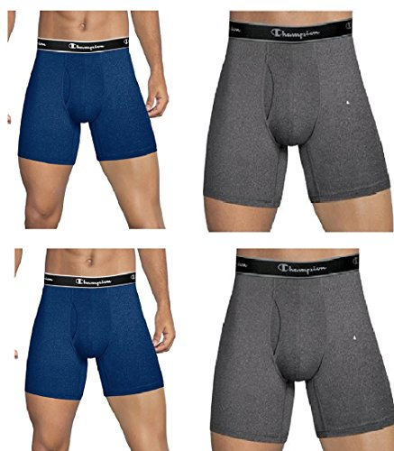 Champion Mens Elite SmartTemp Boxer Briefs, 4-pack (Large, Grey-Blue)