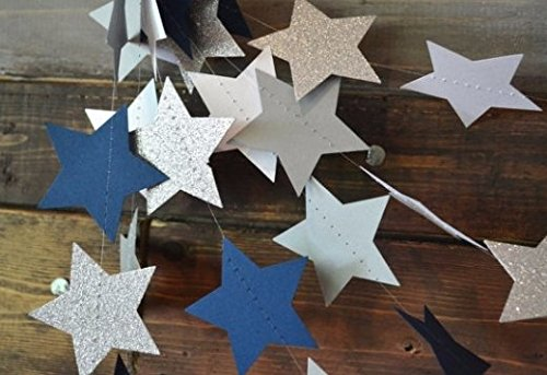 Dallas Stars Drapes (Twinkle, Twinkle Navy, Silver, White and Glitter Silver Star Garland)