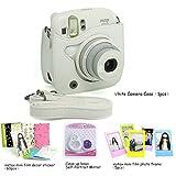 CAIUL 4 in 1 Fujifilm instax Mini 25 Instant Camera Accessories Bundle (Included: White Instax Mini 25 Case/ mini 25 Close-Up selfie Lens/ Colorful Film Frame/ Instax Mini Film Stickers)