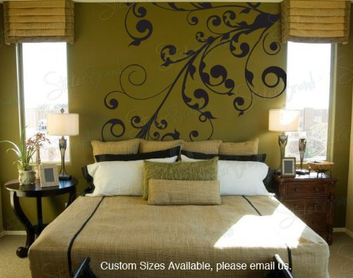 Vinyl Wall Art Decal Sticker Swirl Floral Curves