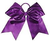 HipGirl Boutique Girls Women 6' Jumbo Large Cheer Bow Elastic Hair Tie Ponytail Holder for High School College Cheerleading (2pc 6' Metallic Cheer Bow--Purple)