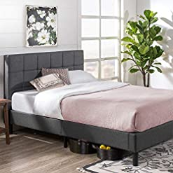 This Zinus Lottie Upholstered Platform Bed Frame