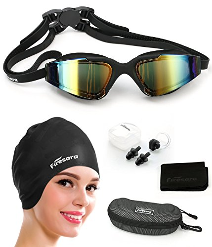 Swim Cap Swimming Goggles, Firesara Swimming Cap for Long Hair Swimming Glasses Anti Fog UV Protection for Adults Youth Men Women Boys Kids with Nose Clip Ear Plugs Sets - Swimming Glass