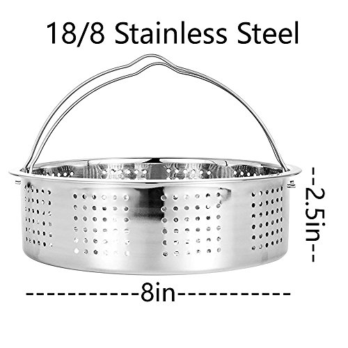 Steamer Basket With Egg Steamer Steamer Rack for Instant Pot and Pressure Cooker Accessories, Vegetable Steam Rack Stand. Fits Instant Pot 5,6,8 qt Pressure Cooker, Stainless Steel, 2 Pieces by OYOY (Image #3)