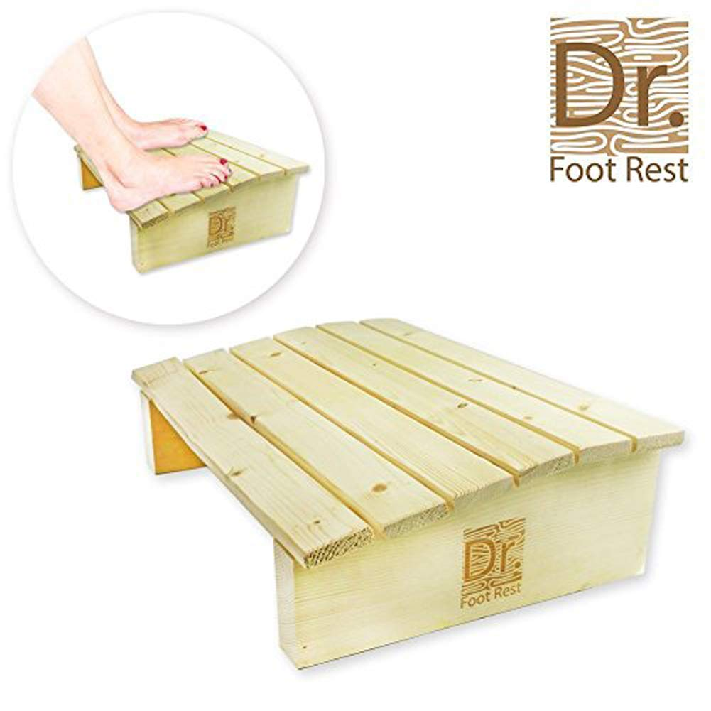 Gutupet, Ergonomic Wood Foot Stool Under Desk Foot Rest with 17.7'' Width for Office Home to Relieve Tendon Pains & Improve Blood Circulation,Pinewood