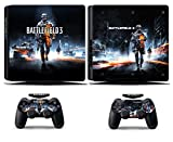 Cosines PS4 Slim Stickers Vinyl Decal Protective Console Skins Cover for Sony Playstation 4 Slim and 2 Controllers Battle Soldier Army Field