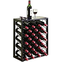 32 Bottle Wine Rack with Glass Table Top, Black