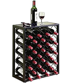 mango steam 32 bottle wine rack with glass table top black - Wine Rack Table