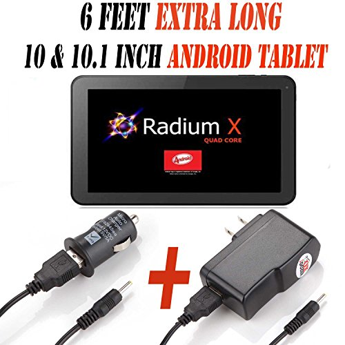 6 Feet Ac/dc Charger Adapter (6ch) for 10.1 Inch Android Tablet Pc Set of 2 (Car & Wall) Fits (Pumpkin X Radium X 10.1