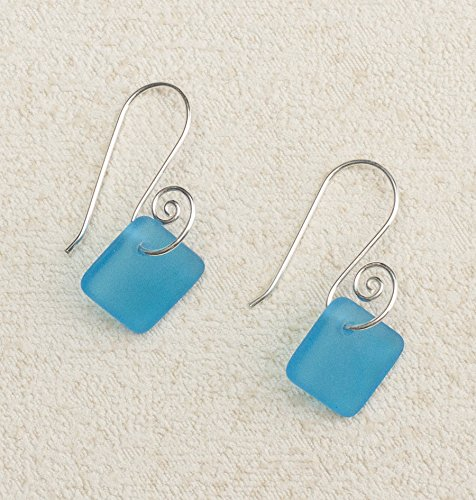 Sea Glass French Curve Earrings, with Turquoise - Ring Turquoise Glass