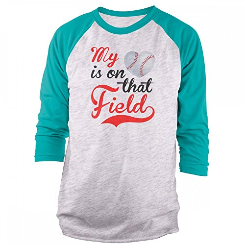 Vine Fresh Tees - My Heart is On That Field - Baseball 3/4 Sleeve Raglan T-Shirt - Medium, Ash w/Tahiti