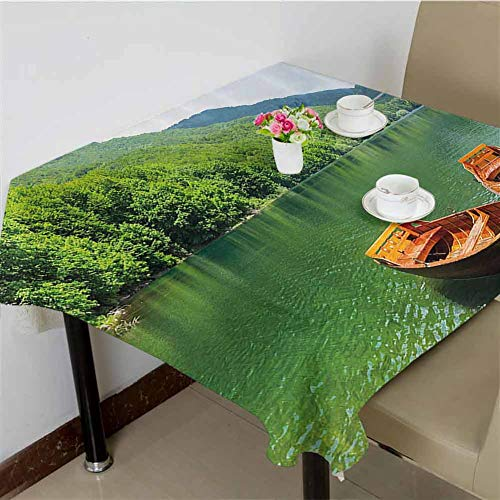 DRAGON VINES Outdoor Tablecloth Boats on The Lake by Forest Surreal Serene in Woodland Paastoral Landscape,Banquet Decoration 54 x 54 inch (Lake Forest Market Square Christmas)