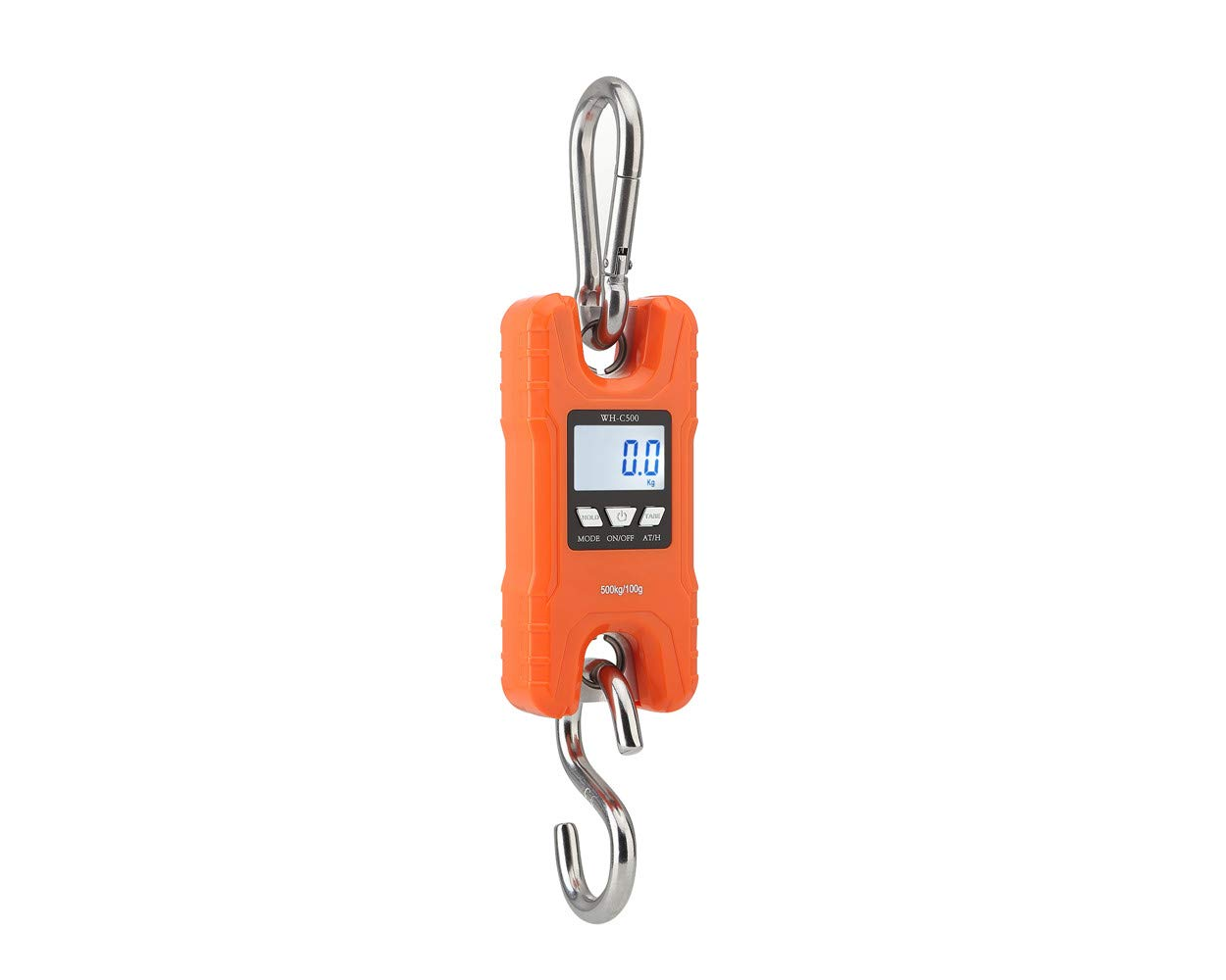 Mini Crane Scale,Klau Portable 500 kg / 1000 lb Heavy Duty Digital Hanging Scales LCD Display with Backlight for Home Farm Market Fishing Hunting Orange by Klau