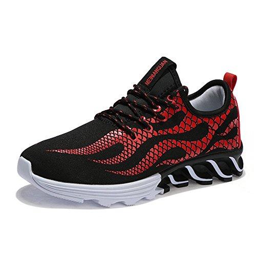 劣る存在するアッパーSufoen 通気性 ランニングシューズ 炎柄 スニーカー メンズ靴 スポーツ ドライビングシューズ レースアップ 運動靴