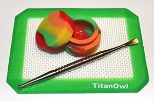 """Titanium Carving Tool GR2 + TitanOwl Silicone Mat Platnium Cured + Non-Stick Jar Container, 5.5"""" x 4.5"""" Pad with Green Corner"""